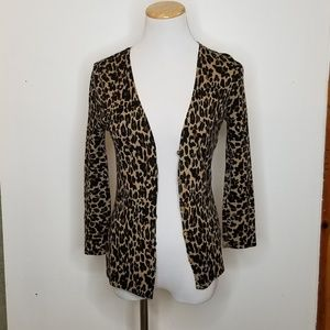 Tory Burch Leopard Print Cardigan with Gold Button